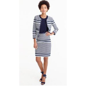 A-line skirt in striped navy tweed