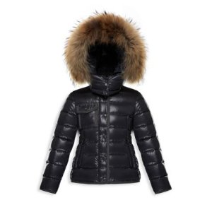 Little Girl's & Girl's Armoise Fur-Trim Lacquered Jacket
