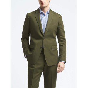 Slim Olive Cotton Linen Suit Jacket | Banana Republic