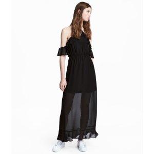Long Chiffon Dress | Black | Women | H&M US
