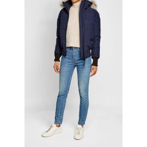 Savona Down-Filled Bomber Jacket with Fur Trimmed Hood