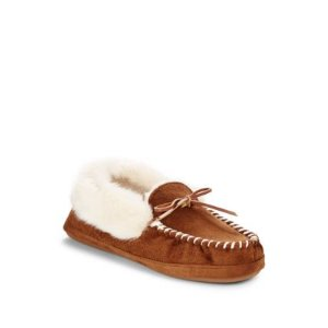 Saks Fifth Avenue Faux Fur-Lined Thinsulate Slippers