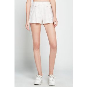 Striped Pleated Utility Short