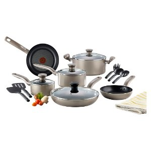 T-fal Simply Cook Nonstick C537SF Dishwasher Safe Cookware 15 Pc Set Champagne : Target