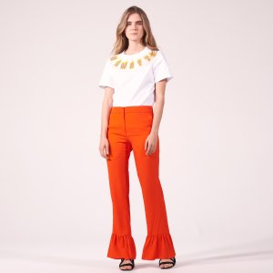 Trousers With Ruffled Hems - Pants & Shorts - Sandro-paris.com