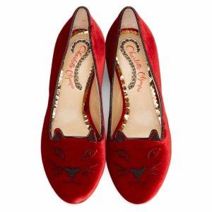 Red Velvet Kitty Flats