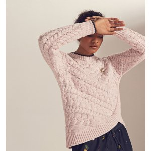 Asymmetric cable knit sweater - Pale Pink | Sweaters | Ted Baker