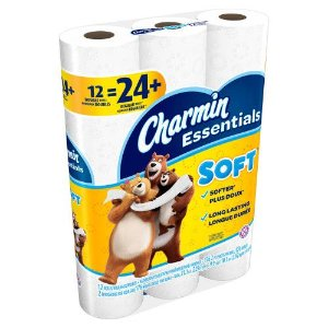 Charmin Essentials Soft Toilet Paper, 12 Double Rolls - Bonus 261sf