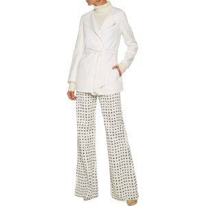 Belted wool and angora-blend felt coat