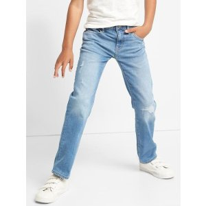 Stretch destructed straight jeans