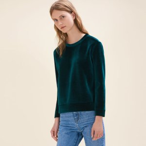 TORINA Straight-cut velvet sweatshirt.