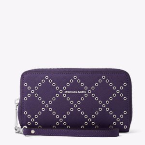 Jet Set Travel Grommeted Leather Smartphone Wristlet