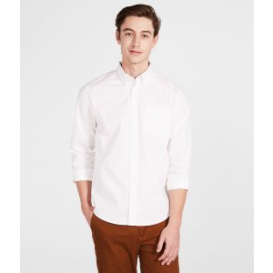 Long Sleeve Solid Stretch Oxford Woven Shirt - Aeropostale