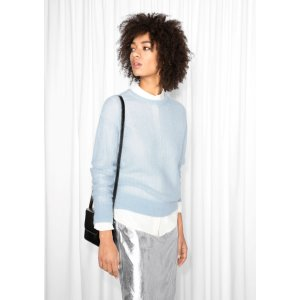 Pointelle Wool Sweater - Light Blue - & Other Stories
