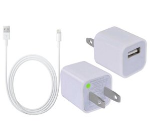 Apple USB Wall Charger & 8-Pin Lightning USB Cable in White