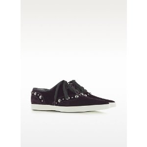 Marc Jacobs Purple Pointed Toe Lace Up Velvet Sneaker 36 (6 US   3 UK   36 EU) at FORZIERI