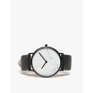 The Horse White Marble/Black Band Watch