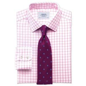 Slim fit non-iron twill grid check light pink shirt | Charles Tyrwhitt