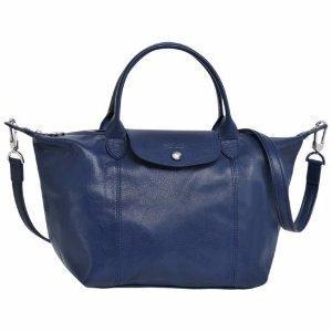 $369.99 超耐用的小羊皮Longchamp 海军蓝小羊皮饺子包