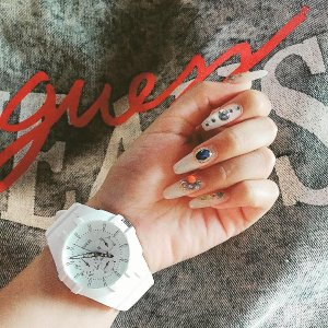 White Analog Sport Watch at Guess