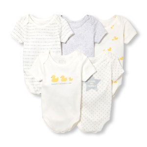 Unisex Baby Layette Short Sleeve Ducky Family Love Bodysuit 5-Pack   The Children's Place