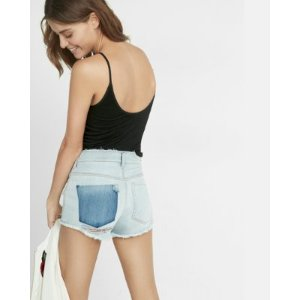 High Waisted Raw Cut Destroyed Shorts | Express