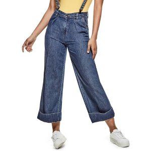 Wide-Leg Suspender Jeans at Guess