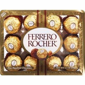 Ferrero Rocher Fine Hazelnut Chocolates, 12CT
