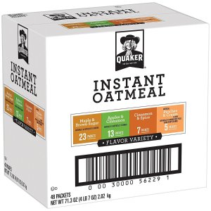 $7.19Quaker Instant Oatmeal, Lower Sugar, Variety Pack, Breakfast Cereal, 48 Counts