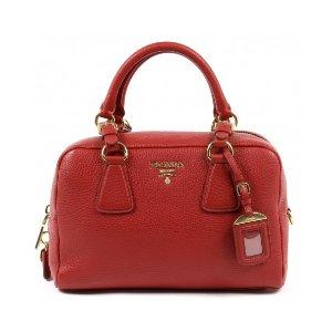 Prada Vitello Daino Handbag - Red