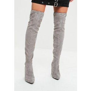 Missguided - Grey Faux Suede Pointed Over The Knee Boots