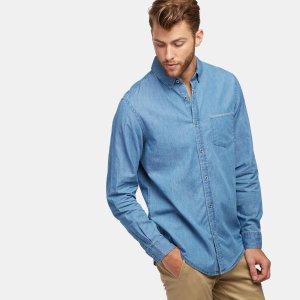 Report Collection 蓝色长袖牛仔布衬衣