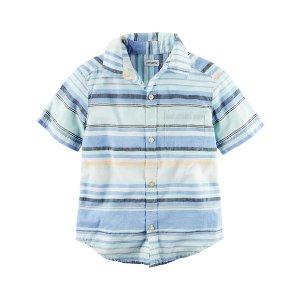 Baby Boy Short-Sleeve Striped Button-Front Shirt | Carters.com