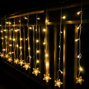 $14Star Curtain Lights, Tofu 8 Function 100 LED 6.6ft Starry Hanging Icicle Twinkle Fairy String Lights
