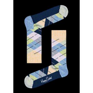 Light Blue & Yellow Cotton Crew Sock: Argyle | Happy Socks