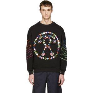 Moschino: Black Embroidered Mirror Logo Pullover