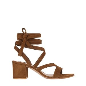 GIANVITO ROSSI - 60MM LACE UP SUEDE SANDALS - SANDALS - BROWN - LUISAVIAROMA