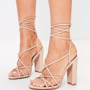 Nude Multi Strap Sandals- Missguided