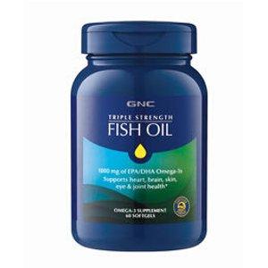GNC 三倍强效鱼油,1000 mg 30粒