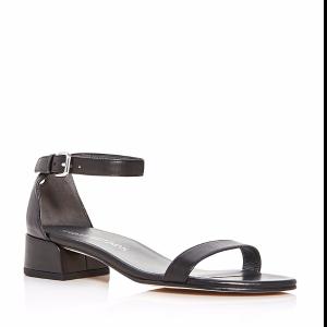 Nudistjune Leather Ankle Strap Block Heel Sandals