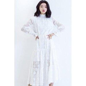 Vintage Lacy Bodycon Dress—White