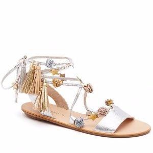 Loeffler Randall | Suze Ankle Wrap Sandal in Silver | Loeffler Randall