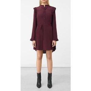 ALLSAINTS US: Womens Sora Silk Dress (Maroon)