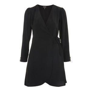 Crepe Wrap Mini Dress - Dresses - Clothing