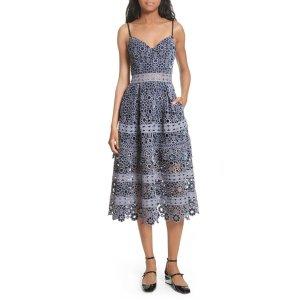 Embroidered Cutwork Midi Dress