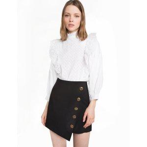 Button Asymmetric Black Mini Skirt