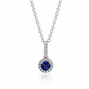 Sapphire and Diamond Drop Pendant in 14k White Gold (4mm) | Blue Nile