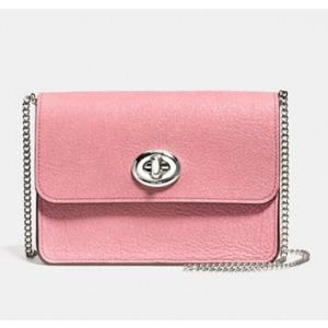 Bowery 粉色锁头链条斜挎包