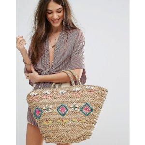 Hat Attack Straw Seashell Tote Bag