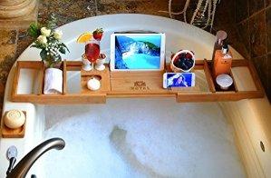 $44.97ROYAL CRAFT WOOD Luxury Bathtub Caddy Tray, Bonus FREE Soap Holder (BROWN or BAMBOO colors)
